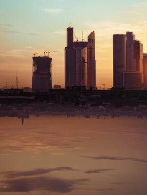 Другое Сити москва, москва-сити, город, архитектура, рассвет, облака, небоскреб