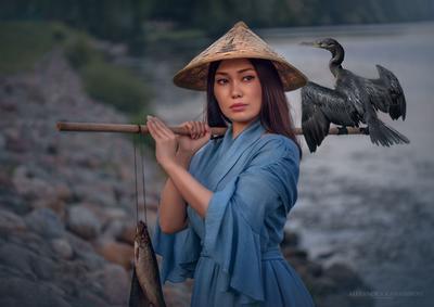 Девушка на рыбалке Рыбалка девушка баклан птица рыба