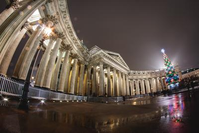 Казанский собор ночь спб огни fisheye