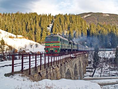 Природа и старые мосты Карпат ворохта карпаты поезд тепловоз зима