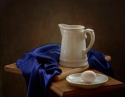 *** натюрморт этюд белый синий