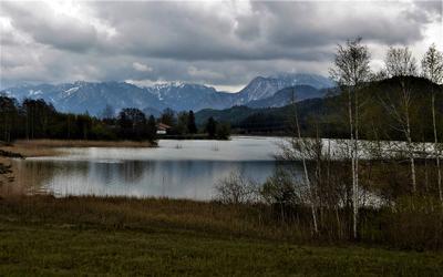 Альпы Бавария озеро г.Фюзен Альпы низкая облачность