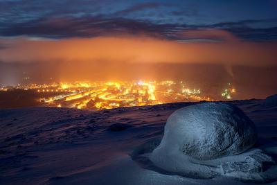 В полярную ночь Кировск Хибины