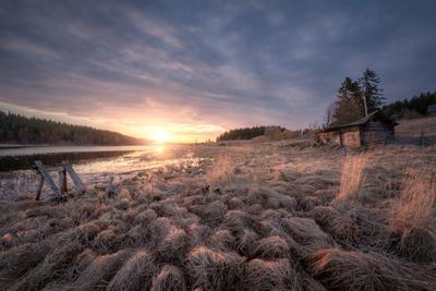 Высокая вода карелия ладога озеро деревня баня забор заброшенное лес облака пейзаж природа
