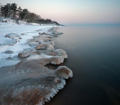 Берег зимы Лед замерзшие капли берег море зима