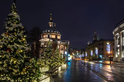 Рождественская  Варварка город улица праздник иллюминация елки
