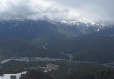 Вид на Эстосадок горы река поселок