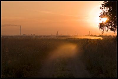 Индустриальный пейзаж Омск, утро