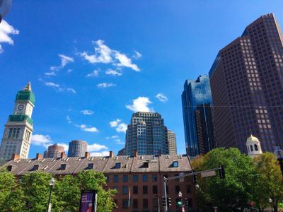 Boston Downtown View America Boston Street Green Sky View