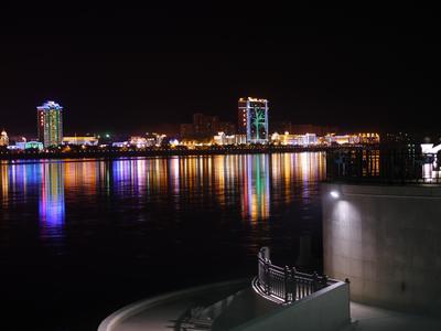 Река Амур, граница Китай (г.Хэй-Хэ) - Россия (г.Благовещенск). река Амур граница Китай набережная город огни Благовещенск