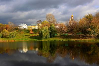 Усадьба Свиблово! пейзаж храм церковь пруд вода свет отражение