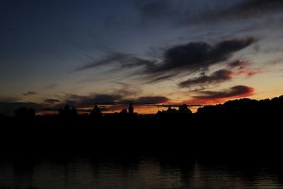 Закатное отражение в небе новгород, закат, облака