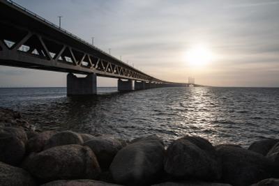 Эресуннский мост Швеция Дания Эресунд Эресуннский мост море