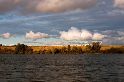 Вечер на озере вечер, пейзаж, осень, облака, лето, озеро