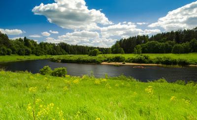 Просторы России небо цветы река лето лодка