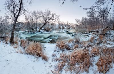 Река Крынка украина пейзаж зима река вода лес вечер