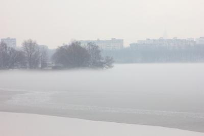 невесомость город туман парк залив апрель