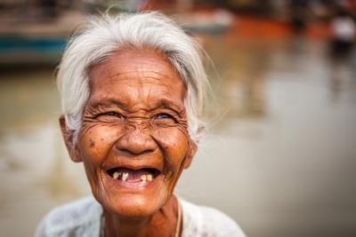 Улыбка Бирмы Бирма Мьянма Портрет Люди Мандалай Бабушка