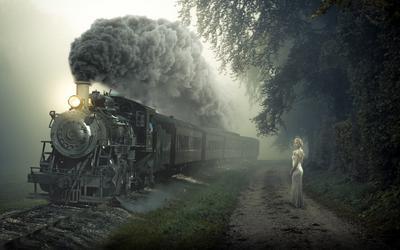 Train matte арт поезд девушка модель платье природа дым блондинка паровоз
