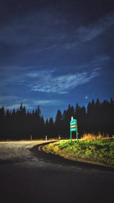 Ночное небо Небо звёзды ночь лес ситуэт деревья дорога знак