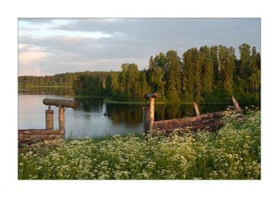 `На рыбалку` озеро лодка вечер