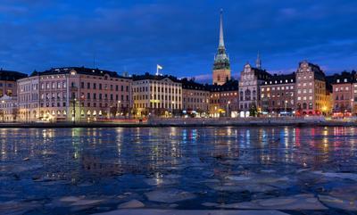 Стокгольм вечером город Стокгольм ночь