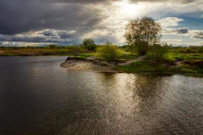 Пробуждение пейзаж природа весна вечер солнце туча река Усманка Сомово Боровое Воронеж