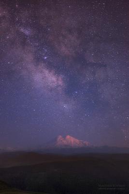 Млечный путь над Эльбрусом Кавказ Эльбрус