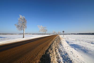 Дорога. дорога зима снег небо природа