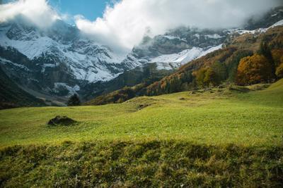 Горы Горы снег лето пейзаж природа облака