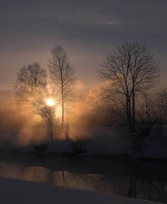 И солнце всходило 4...  рассвет , мороз, туман