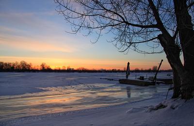 Февральский рассвет зима рассвет река лёд февраль