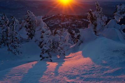 Pro дивные краски Шерегешского вечера (5) Зимний вечер краски вечера зима снег закат свет цвет тени пихты кедры Сибирь Шерегеш Горная Шория