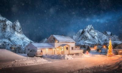 Рождество на Лофотенах Norway Reine Lofoten Лофотены Рождество снег christmas