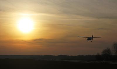 Зимний вечер на аэродроме Кудиново аэродром Кудиново Аэропракт А-27М зима закат взлет полёты