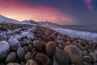 *** природа пейзаж север кольский закат лето иоре океан небо берег прибой