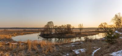 *** река рассвет утро весна отражение