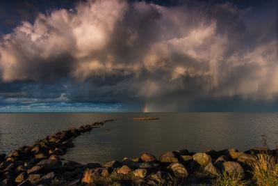 Под драматичным небом Природа пейзаж радуга туча залив