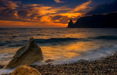 Волны заката море Севастополь Фиолент скалы горы закат пейзаж природа