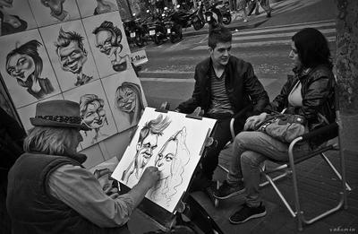 Doble retrato художник молодость шарж vakomin