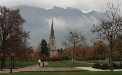 ***Швейцария, горный курорт Горы красота Швейцария туман
