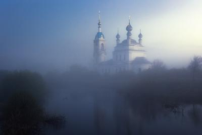 Сумерки природа туман храм