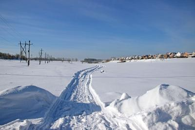 След Сибирь зима снег иней след