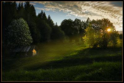 последний вечер весны... весна деревня банька вечер свет черёмуха закат