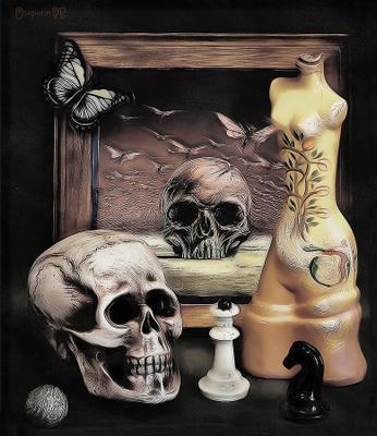Вся наша жизнь — беспечная игра, исход которой знает лишь одна судьба..... ванитас иваново игра натюрморт статуэтка