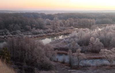 78 декабрь рассвет Река Воронеж изморозь