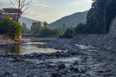 Утренний Цусхвадж утро река горы Цусхвадж Кавказ Сочи лето вода камни