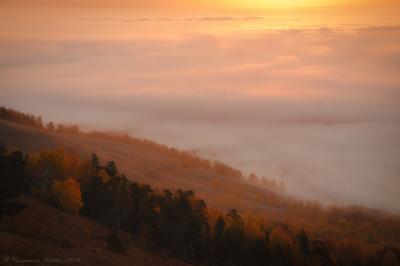 Рассвет над Вишневыми горами рассвет пейзаж вишневогорск туман утро осень