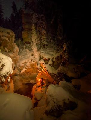 *** Архангельская область Пинега источник карст водопад русский север мороз зима