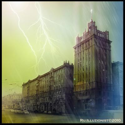 Небесный Лайм Харьков, гроза, город